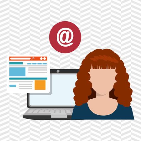 woman laptop: woman laptop email document vector illustration design