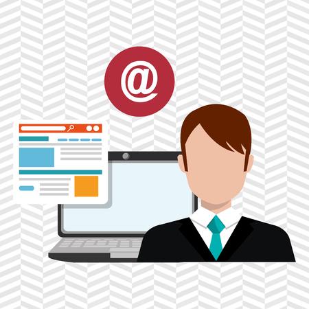 man laptop email document vector illustration design