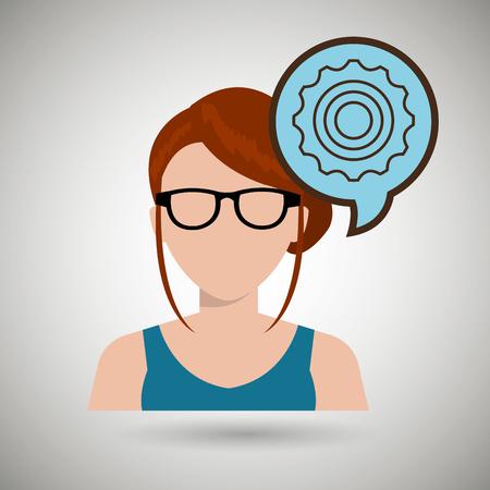 debating: woman girl silhouette idea vector illustration design Illustration
