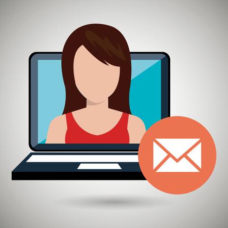 woman with laptop: woman laptop message web vector illustration design