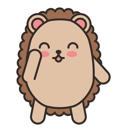 cute purcopine animal tender isolated icon vector illustration design