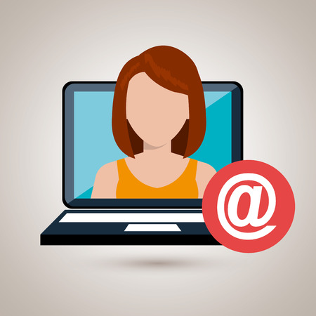 woman with laptop: woman laptop email icon vector illustration design