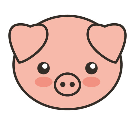 tender: cute pig animal tender isolated icon vector illustration design
