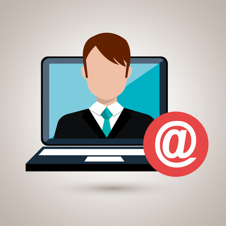 man with laptop: man laptop email icon vector illustration design Illustration
