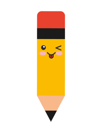 pencil character isolated icon vector illustration design kawaii
