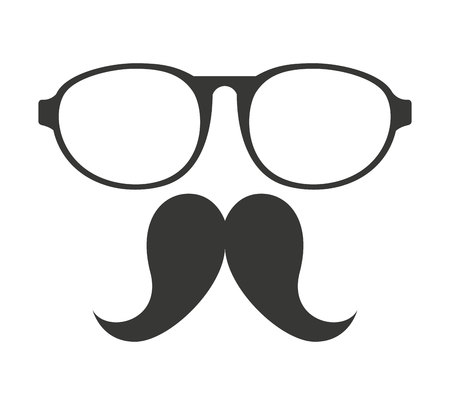 costume eye patch: mustache and glasses hipster style vector illustration design