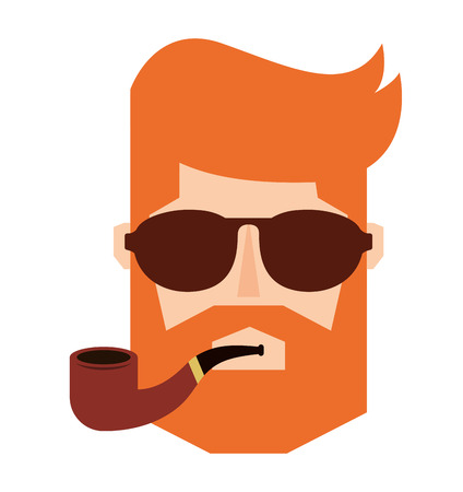 man person hipster style isolated icon vector illustration design Illustration