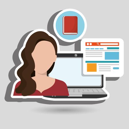 woman with laptop: woman laptop book document vector illustration design