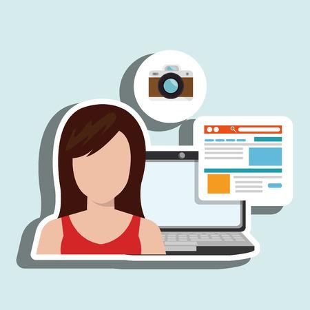 woman laptop email document vector illustration design