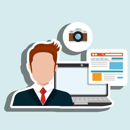 man laptop email document vector illustration design Illustration