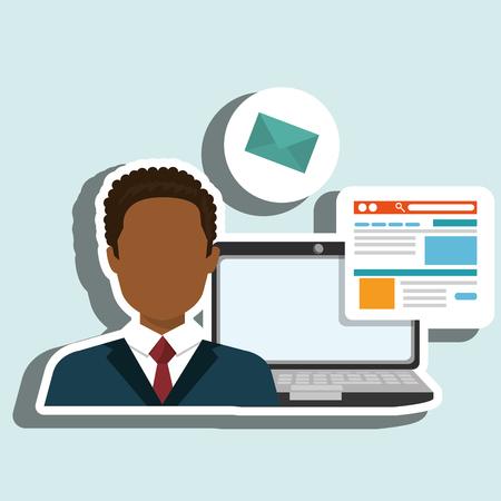 yellow notepad: man laptop email document vector illustration design Illustration