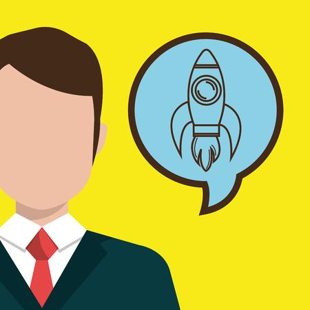 teammates: man idea bubble speak vector illustration design