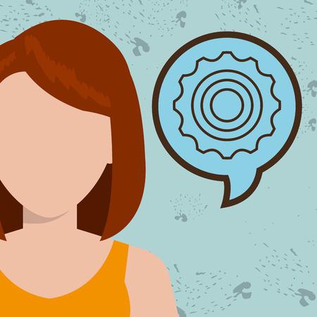 teammates: woman girl silhouette idea vector illustration design Illustration