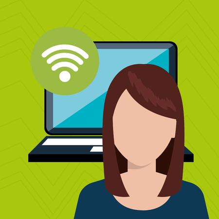 woman laptop: woman laptop wifi icon vector illustration design