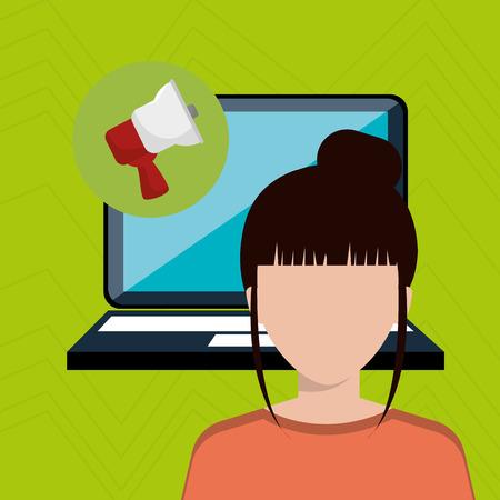 woman with laptop: woman laptop megaphone speak vector illustration design