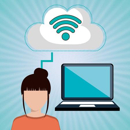 woman laptop: woman laptop group web vector illustration design
