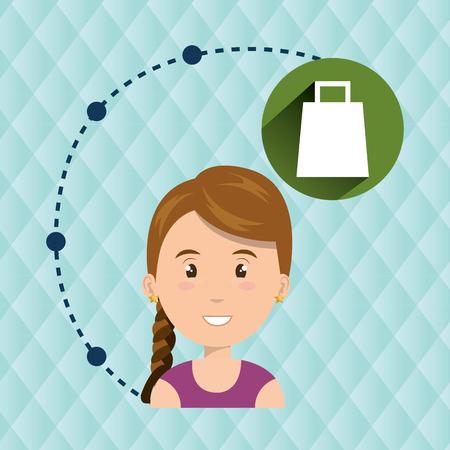 niños platicando: girl connection app icon vector illustration design