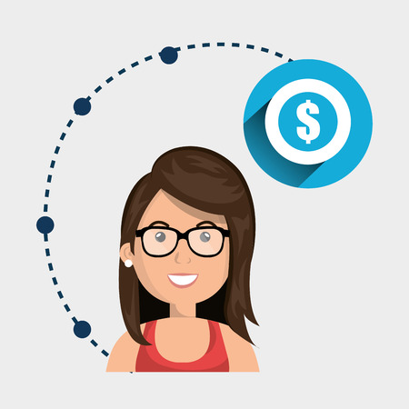 woman holding money: girl connection app icon vector illustration design