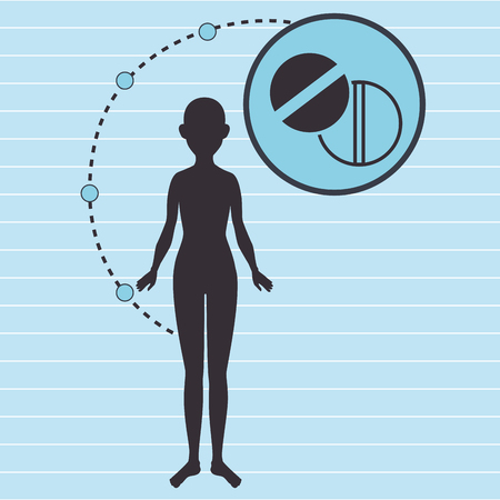 one person only: silhouette woman healthy medicine vector illustration icon