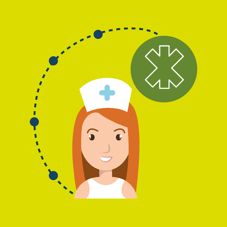 woman medical staff service vector illustration design