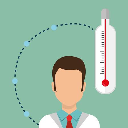 mercury staff: man medical staff thermometer vector illustration design Illustration