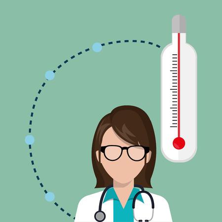 mercury staff: woman medical staff thermometer vector illustration design