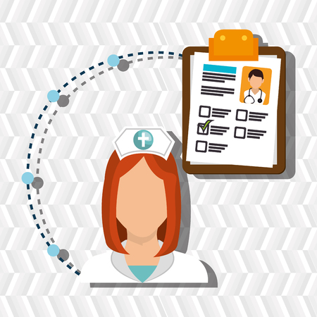 stephoscope: woman medical staff clipboard vector illustration design Illustration