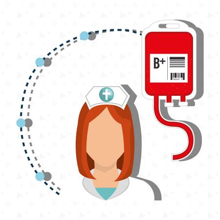 medical staff: woman medical staff blood vector illustration design Illustration
