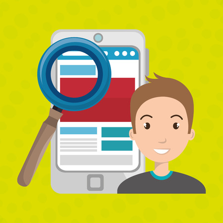 man smartphone search new vector illustration design
