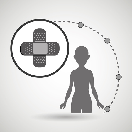 'one woman only': silhouette woman healthy medicine vector illustration icon