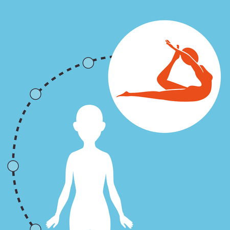 silhouette woman healthy yoga vector illustration icon