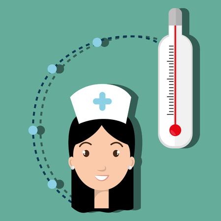 cold room: woman medical staff thermometer vector illustration design