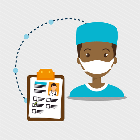 surgeon mask: man staff medical service vector illustration design