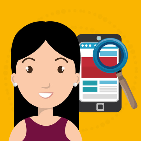 woman smartphone: woman smartphone search new vector illustration design