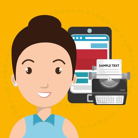 woman smartphone: woman smartphone search new vector illustration design