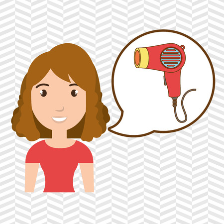 woman accessories hairdryer vector illustration eps 10