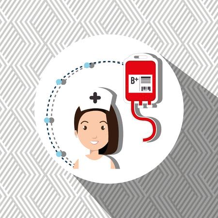 medical staff: woman medical staff blood vector illustration design Stock Photo