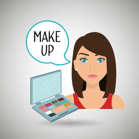 woman make up: woman make up cosmetic vector illustration design Illustration