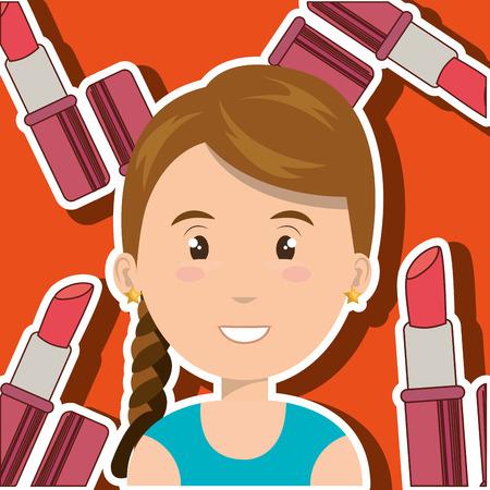 woman make up brush vector illustration graphic Illustration