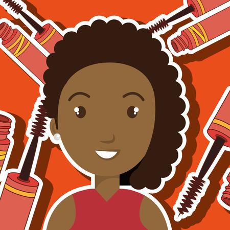 woman make up: woman make up brush vector illustration graphic Illustration