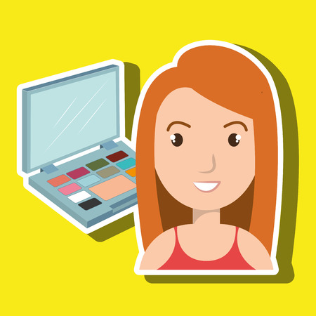 woman make up cosmetic vector illustration graphic Illustration