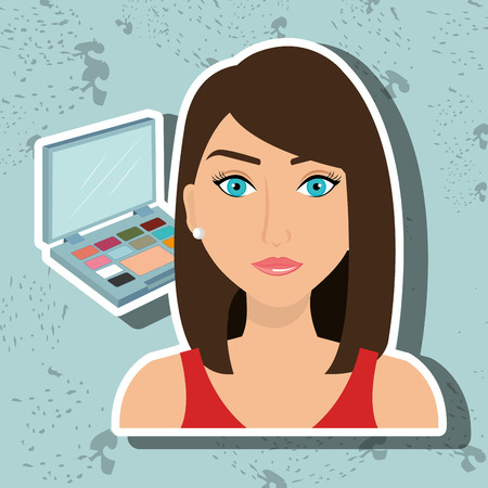 woman make up: woman make up cosmetic vector illustration graphic Illustration
