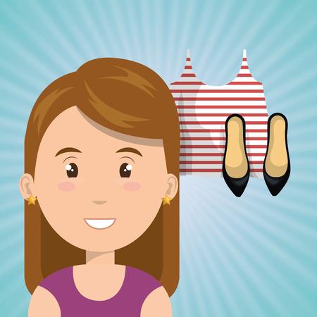 choosing clothes: woman clothes closet vector illustration graphic eps 10 Illustration