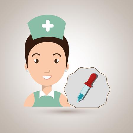 tied girl: nurse laboratory chemistry vector illustration graphic eps 10