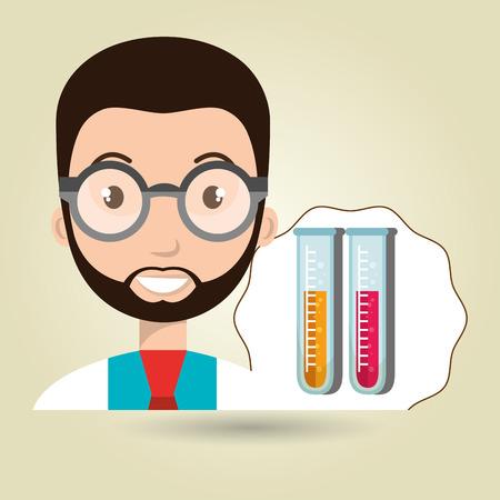 trainee: doctor laboratory tube chemistry vector illustration graphic Illustration