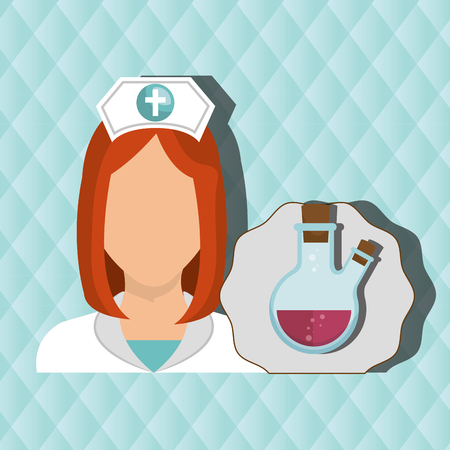 nurse woman tube lab chemistry vector illustration graphic Stock Vector - 61511251