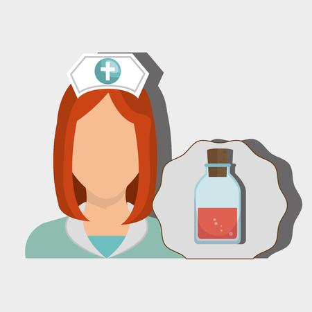 nurse woman tube lab chemistry vector illustration graphic Stock Vector - 61511256