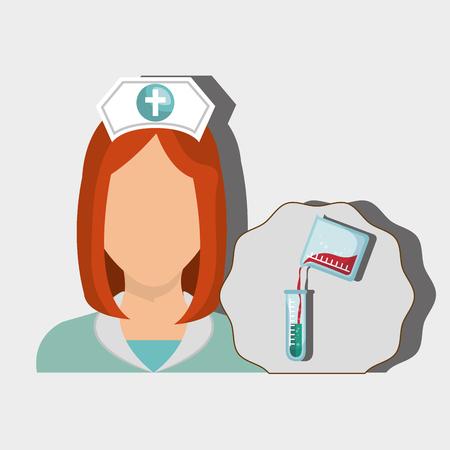 redhair: nurse woman tube lab chemistry vector illustration graphic Illustration