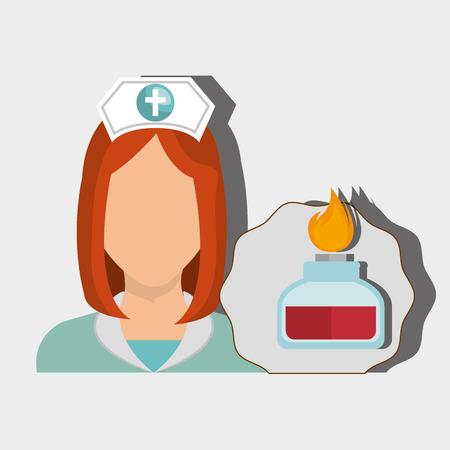 nurse woman tube lab chemistry vector illustration graphic Illustration