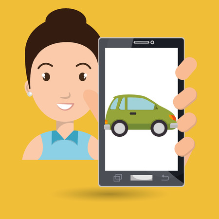 woman smartphone car web vector illustration design Illustration